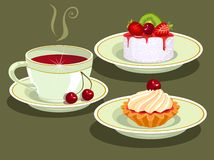Thee en cake. Stock Fotografie