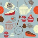 Thee en cakes. Stock Afbeeldingen