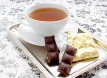 Thee en chocolade Royalty-vrije Stock Foto's
