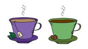 Thee en koffie stock illustratie