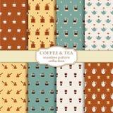 Thee en koffieachtergronden Stock Afbeelding