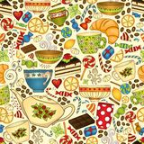 Thee en koffiekrabbel naadloos patroon Royalty-vrije Stock Afbeelding