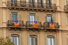 Thee Estelada Flags. Signs, banners and flags cover the cityscape of Barcelona in support of the Catalan Independence Movement Stock Photos