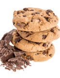 Thee fresh Cookied with Chocolate on white Royalty Free Stock Photo