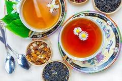 Thee, fruitthee, Kop thee, diverse soorten thee, thee op de lijst Royalty-vrije Stock Afbeeldingen