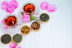 Thee, fruitthee, Kop thee, diverse soorten thee, thee op de lijst Stock Afbeeldingen