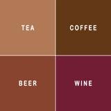 Thee, koffie, bier en wijn Stock Afbeeldingen