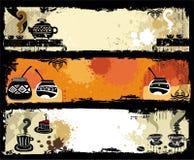 Thee, koffie, de banners van de yerbapartner. Stock Fotografie