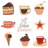 Thee, koffie en dessertpictogrammen Stock Foto