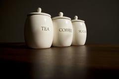 Thee, koffie en suiker Stock Afbeelding