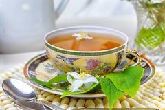 Thee, Kop thee, diverse soorten thee, Thee met jasmijn Stock Afbeeldingen