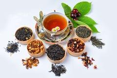 Thee, Kop thee, diverse soorten thee, thee op de lijst Royalty-vrije Stock Foto