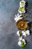 Thee met de lentebloemen Royalty-vrije Stock Foto