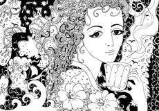 Thee met geheugen Hand getrokken krabbelillustratie van mooi meisje stock illustratie