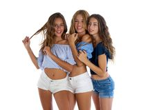 Thee najlepszych przyjaciół nastoletnie dziewczyny szczęśliwe wpólnie obraz royalty free
