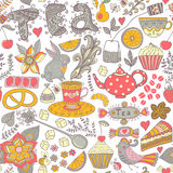 Thee, patroon van de snoepjes het naadloze krabbel. Exemplaar dat vierkant aan de kant Stock Foto