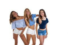 Thee teen best friends girls happy together stock photos