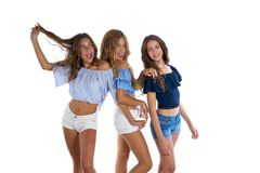Thee teen best friends girls happy together stock photo