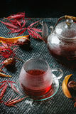 Thee van de de herfst de rode hibiscus Stock Afbeeldingen