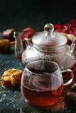 Thee van de de herfst de rode hibiscus Royalty-vrije Stock Foto's