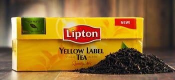 Thee van het Lipton de gele etiket Stock Foto's