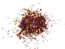 Thee van het mengsel de kruiden bloemenfruit met bloemblaadjes, droge bessen en vruchten Texsture Stock Afbeelding