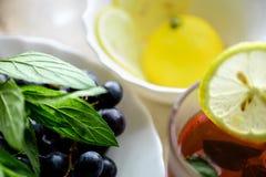 Thee whith druif en groene munt Stock Foto