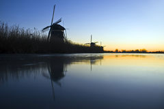 Thee windmills in Wintertime royalty free stock photography