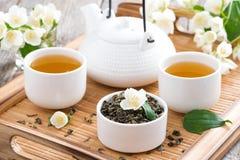 Theeceremonie - groene thee met jasmijn Royalty-vrije Stock Foto