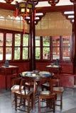 Theeceremonie in het Huxinting-theehuis, het oudste theehuis van Shanghai, China Royalty-vrije Stock Afbeelding