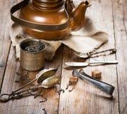 Theeceremonie, zwarte thee, theepot stock foto