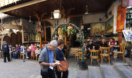 Theehuis en tabakswinkel in Damascus royalty-vrije stock afbeelding