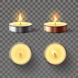 Theekaars Romantische kaarsen in 3D metaalvlam, ontspannende kaarsbrand en geïsoleerd kuuroord aromatherapy kaarslicht vector illustratie