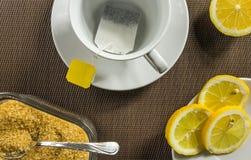 Theekop, plakken van citroen en bruine suiker Royalty-vrije Stock Foto