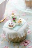 Theekransje cupcake royalty-vrije stock fotografie