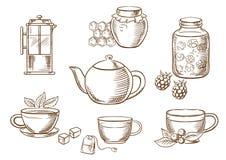 Theepictogrammen met jam, honing, koppen en theepotten Royalty-vrije Stock Afbeeldingen