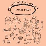 Theepot, koppen, cakes, citroen en woorden Stock Illustratie
