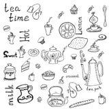 Theepot, koppen, cakes, citroen en woorden Royalty-vrije Illustratie