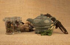 Theepot met kruiden en wortels Royalty-vrije Stock Foto