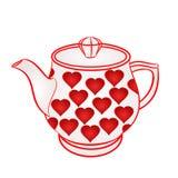 Theepot met rode hartenvector Stock Afbeelding
