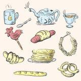 Theestel en gebakjes en snoepjes Royalty-vrije Stock Afbeelding