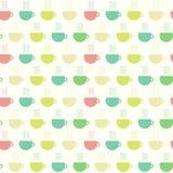 Theetijd, koppen naadloos patroon Vector illustratie Stock Fotografie