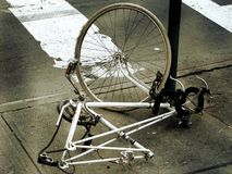 Theft. Photo of a chained bicycle stock images