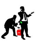 Theft. Businessman stealing money and portfolio Stock Image