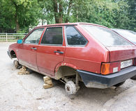 Theft of automobile wheels Stock Photo