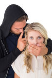 Theft covering young womans mouth Stock Photos