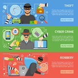 Theft Flat Horizontal Banners. With different types of stealing and threats for property money information vector illustration Stock Image