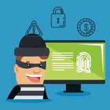 Theft identity avatar character. Vector illustration design Stock Image