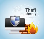 Theft identity computer protection firewall safety. Vector illustration Stock Photo