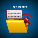Theft identity folder file document access virus. Vector illustration Stock Image